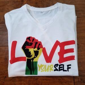 Love yourself black power tee